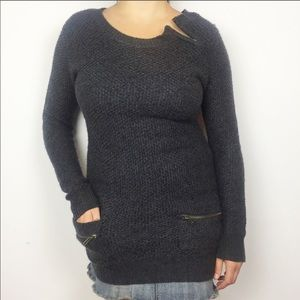 HOOKED UP Soft Cozy Long Knit Sweater Zipper S